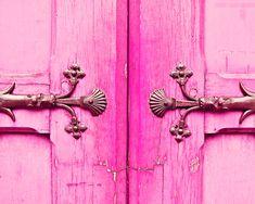 Pink Paris Door Photo, Neon, via Etsy.