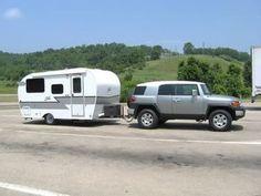 Fj towing nice retro travel trailer