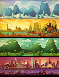 Party Train Backgrounds by Drew Hill – concept art, illustration. Landscape Illustration, Landscape Art, Illustration Art, Illustrations, Fantasy Landscape, Cartoon Background, Animation Background, 2d Game Background, Science Background