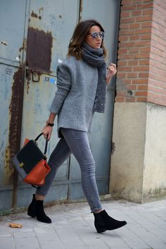 justthedesign:   Matching varying tones of grey... Fashion Tumblr | Street Wear, & Outfits