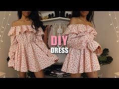 DIY Ruffle off the shoulder dress sewing tutorial in this video I will show you how to sew a breezy dress for the summer, like this off the shoulder dress wi. Dress Sewing Tutorials, Skirt Patterns Sewing, Pattern Sewing, Skirt Sewing, Coat Patterns, Pattern Drafting, Blouse Patterns, Tutorial Sewing, Pattern Dress