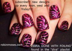zebra nails | magenta nails, pink and black zebra nail, zebra foil nail, zebra nail ...