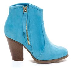 BLUE Zipped To The Top Chunky Booties ($32) ❤ liked on Polyvore featuring shoes, boots, ankle booties, booties, heels, blue, ankle boots, side zip boots, high heel ankle boots and chunky heel ankle booties