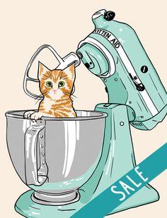 Kitten Aid (Pierre) - premium giclee print - *SALE* on Etsy, £10.21