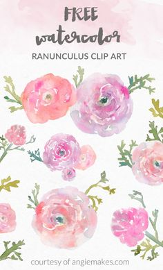 Enjoy This Collection of Free Girly Graphics and Watercolor Clip Art Courtesy of Angie Makes. These Cute, Girly Clip Art Images Are Totally FREE! Free Watercolor Flowers, Art Watercolor, Watercolor Pattern, Watercolor Texture, Chiaroscuro, Flower Images Free, Ranunculus Flowers, Flower Clipart, Free Graphics