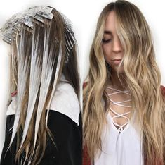 Fouls and balayage Cabelo Ombre Hair, Balayage Hair Blonde, Brown Blonde Hair, Balayage Hair How To, Diy Balayage At Home, Blonde Honey, Medium Blonde, Honey Hair, Ombre Hair Color