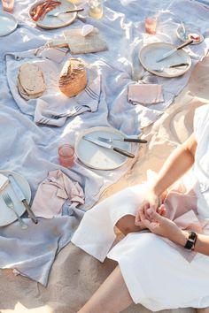Beach Picnic | Photography and Styling by Sanda Vuckovic Summer, warm weather, light, light tones, pastels, palm trees, beach, sea, ocean, sand, waves, pool, poolside, swim, swimwear, travel, explore