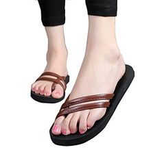 Scheppend Womens Beach Flat Slides PU Flip Flops SandalsCoffee 85US *** Read more reviews of the product by visiting the link on the image.