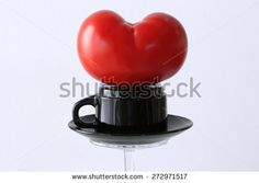 Heart shaped tomato. Love ourselves and eat healthy.