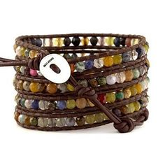 Aspiring Rainbow Multi-colour & Silver Macrame Wrapped Adjustable Bracelet Bangle Fashion Jewelry