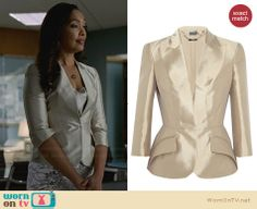 Jessica's metallic blazer on Suits.  Outfit Details: http://wornontv.net/30212/ #Suits