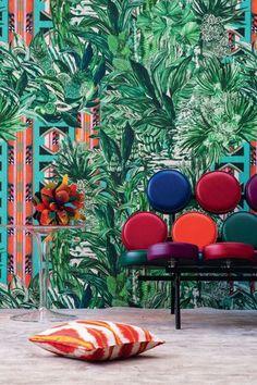 from Pierre Frey Jungle collection Decor Interior Design, Interior Styling, Interior Decorating, Print Wallpaper, Fabric Wallpaper, Snug Room, Custom Carpet, Tropical Wallpaper, Outdoor Furniture Sets