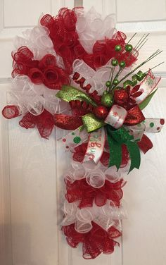 24 Christmas Deco Mesh Candy Cane Wreath with Bow