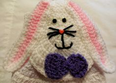 Hanging Towel  Easter  Bunny Topper  Crochet by ShelleysCrochetOle, $16.00