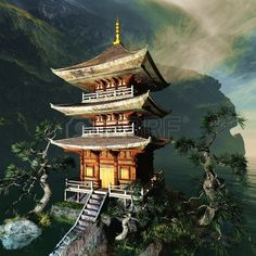 Picture of Zen buddhist temple in the mountains stock photo, images and stock photography. Japanese Temple Tattoo, Japanese Tattoo Art, Samurai Tattoo, Samurai Art, Amaterasu, Japanese Pagoda, Templer, Geniale Tattoos, Asian Tattoos