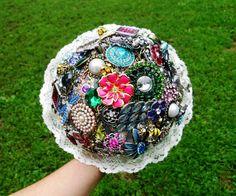 Brooch Bouquet Wedding Custom Colors Rhinestone by AfternoonDelite, $120.00