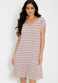heathered t-shirt dress with stripes (original price, $29.00) available at #Maurices