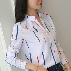 Korean Women Shirts Woman Long Sleeve V-neck Blouse Shirt Office Lady Striped White Shirt Plus Size Blusas Mujer De Moda Blouses Look Fashion, Fashion Outfits, Fashion Women, Club Fashion, Fashion Shirts, Chic Outfits, White Chiffon Blouse, Chiffon Tops, Fall Shirts