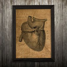 Heart print. Anatomy poster. Medical decor. Biology print. PLEASE NOTE: this is not actual burlap, this is an art print, the image is printed on