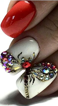Red and white nail art Mani Pedi, Nail Manicure, Nail Polish, Diva Nails, My Nails, Makeup Art, Lip Makeup, Dragonfly Nail Art, Stylish Nails