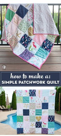 Learn how to make a simple patchwork quilt, a great beginning quilt project. A pre-cut fabric quilt pattern that is free. Quilting For Beginners, Sewing Projects For Beginners, Quilting Tutorials, Quilting Projects, Quilting Ideas, Crafty Projects, Strip Quilts, Quilt Blocks, Patchwork Quilt Patterns