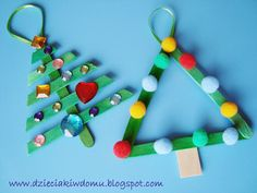 Ozdoby choinkowe z patyczków dla dzieci DIY/ popsicle stick christmas tree ornaments Holiday Crafts For Kids, Kids Crafts, Christmas Crafts, Diy And Crafts, Xmas, Stick Christmas Tree, Christmas Tree Ornaments, Christmas Decorations, Crafty Kids