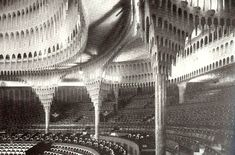 The interior of the Grosses Schauspielhaus, Berlin, 1919, by Hans Poelzig. A design inspired by  stalactite formations in a mineral cave.
