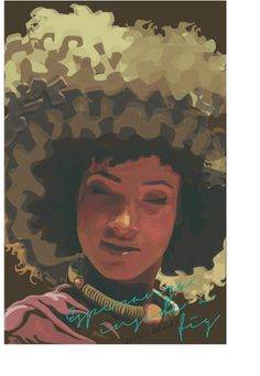 Esperanza Spalding inside the essence of a fig.  There is a combination of tertiary and secondary colors that compose this piece. Myriad tints and shades of red, red violet, and green are used to denote shadow and light. The script uses a complimentary blue green color to stand out from the image. The presence of light red, blue and green makes this piece an equilibrium of colors.