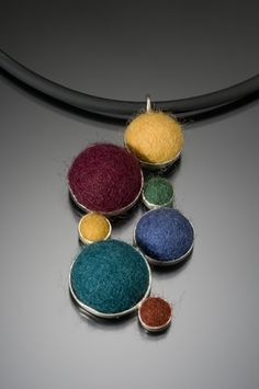 Felt silver necklace. Cara Romano Fiber Jewelry