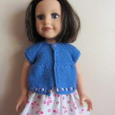 Habit de poupée : gilet  bleu manches courtes pour journey girls DANA forme top down