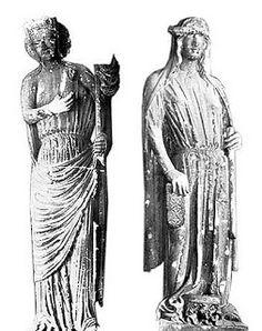 Medieval segregation Ecclesia et Synagoga, stone, 1264. St. Seurin, Bordeaux