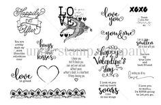 """BRAND NEW on the UNITY Website!  December 2015 Sentiment Kit from Unity.  Created by Lisa Arana. This kit contains 19 stamps.  Heart measures approximately 1"""" x 1.25"""".  Love with bird and scripted background measures approximately 2"""" x 2"""".  Ribbon measures approximately .5"""" x 4.25"""".  """"Happily ever After"""" sentiment measures approximately 1.75"""" x 1.75"""".  """"i love you more"""" sentiment measures approximately .25"""" x 1.25"""".  """"You are pretty much my most favorite valentine ever"""" sent..."""