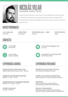 "Clean, crisp resume layout by Nicolás Villar, via Behance. For more great resume ideas search Aaron Sheppard and look at my ""? - Design - Resumes"" board. Creative Resume Design, Resume Style, Resume Design, Curriculum Vitae, CV, Resume Template, Resumes, Resume Format."