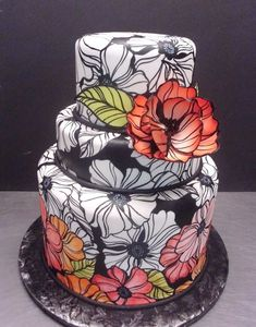 Flower Cake ... Line Art ... Green, Pinks and Reds ... Anemones ... Stain Glass-esque?