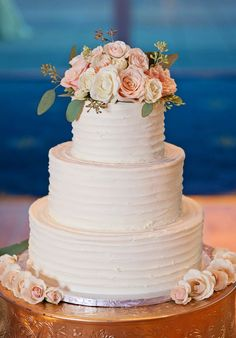 Featured Photography: Jen & Dayton Photography; white and blush pink rose wedding cake