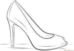 How to draw a high heel shoe step by step. Drawing tutorials for kids and beginners.