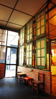 Window partition walls at the Cozy in the Rocket, Georgetown, Penang Island