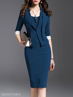 get' thr V-Neck Plain Bodycon Dress – stylishpop Tips For Chosing The Ideal Jewelry To Match Your We Latest Fashion Clothes, Fashion Outfits, Half Sleeve Dresses, Mode Chic, Dress Silhouette, Work Attire, Dress Brands, Dresses Online, Bodycon Dress