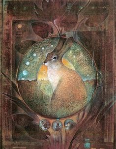 Goddess Knowledge Cards - The Hare Illustrations de Susan Seddon Boulet Art And Illustration, Fantasy Kunst, Fantasy Art, Lapin Art, Year Of The Rabbit, Into The Fire, Rabbit Art, Rabbit Totem, Bunny Art