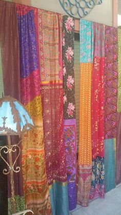 Bohemian Curtains Band of Gypsies by HippieWild Boho Gypsy sequined silk multicolor patchwork panels bohemian decor hippy hippie chic - Bohemian Home Gypsy Indian Curtains, Bohemian Curtains, Bohemian Decor, Boho Chic, Shabby Chic, Bohemian Living, Gypsy Chic Decor, Gypsy Home Decor, Bohemian Fabric