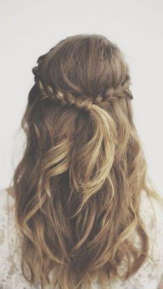 Long Hairstyles - Loose curls, half up half down braid