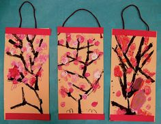 Kindergarten art cherry blossom painting printing scrolls Japanese multi-cultural