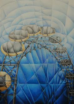 ARTFINDER: Millennium Wheel by Tiffany Budd - This is a detailed, semi abstract of the iconic Millennium Wheel in London, completed in Tiffany's unique Fractured style. This is created in coloured pencil.