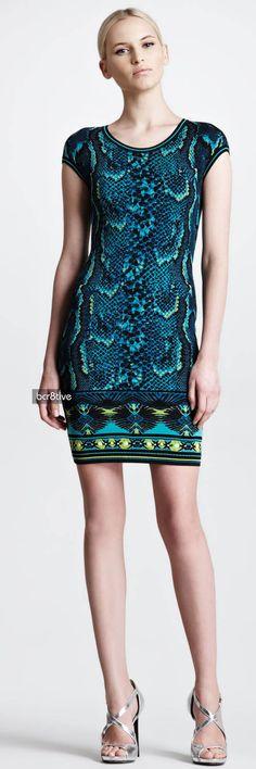Roberto Cavalli Short-Sleeve Snake-Print Sheath Dress, Turquoise