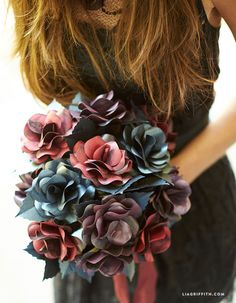DIY Black Paper Rose Bouquet for Halloween from MichaelsMakers Lia Griffith