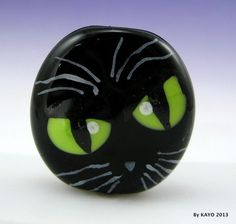 """The Cackling Cat"" Bykayo A Handmade Sinister Cat Lampwork Glass Focal Bead SRA 
