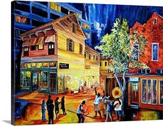 Diane Millsap Solid-Faced Canvas Print Wall Art Print entitled Frenchmen Street New Orleans 3 Piece Canvas Art, Abstract Canvas Wall Art, Wall Canvas, Wall Art Prints, Poster Prints, Canvas Prints, Framed Prints, New Orleans Art, Thing 1
