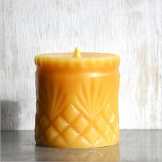 Beeswax Candle: Fleur de Lis Candle, Pure Beeswax Pillar Candle Molded from Mid Century Pressed Glass
