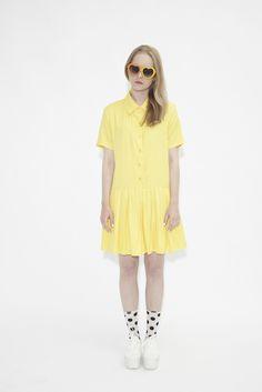 Drop Waist Shirt Dress Yellow