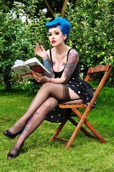 The Blues...blue hair, polka dot dress, thigh highs.   Love!